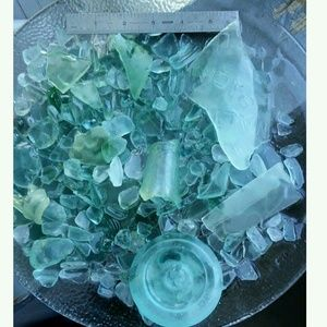 Large found seaglass collection blue green frost